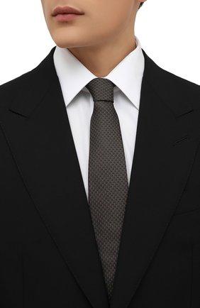 Мужской шелковый галстук BOSS коричневого цвета, арт. 50461349 | Фото 2 (Материал: Шелк, Текстиль; Принт: С принтом)