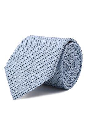 Мужской шелковый галстук BOSS голубого цвета, арт. 50461565 | Фото 1 (Материал: Шелк, Текстиль; Принт: С принтом)