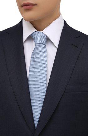 Мужской шелковый галстук BOSS голубого цвета, арт. 50461565 | Фото 2 (Материал: Шелк, Текстиль; Принт: С принтом)