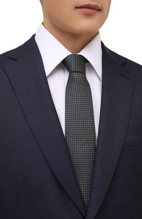 Мужской шелковый галстук BOSS темно-зеленого цвета, арт. 50461565   Фото 2 (Материал: Текстиль, Шелк; Принт: С принтом)