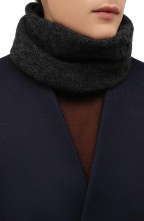 Мужской шарф-снуд из шерсти и вискозы TRANSIT темно-серого цвета, арт. SCAUTRP21566   Фото 2 (Материал: Шерсть; Кросс-КТ: шерсть)