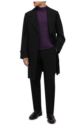 Мужской шерстяная водолазка DRIES VAN NOTEN фиолетового цвета, арт. 212-021218-3700   Фото 2 (Длина (для топов): Стандартные; Материал внешний: Шерсть; Рукава: Длинные; Мужское Кросс-КТ: Водолазка-одежда; Принт: Без принта; Стили: Кэжуэл)