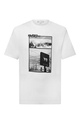 Мужская хлопковая футболка Y-3 белого цвета, арт. HB3347/M | Фото 1 (Рукава: Короткие; Длина (для топов): Стандартные; Материал внешний: Хлопок; Принт: С принтом; Стили: Гранж)