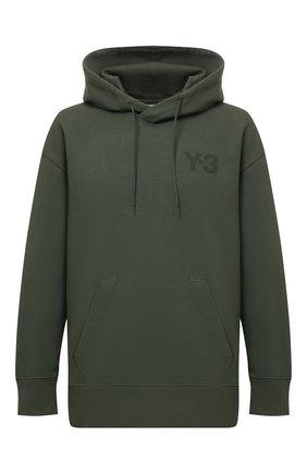 Мужской хлопковое худи Y-3 зеленого цвета, арт. HF7069/M | Фото 1 (Рукава: Длинные; Материал внешний: Хлопок; Длина (для топов): Стандартные; Мужское Кросс-КТ: Худи-одежда; Принт: Без принта; Стили: Спорт-шик)