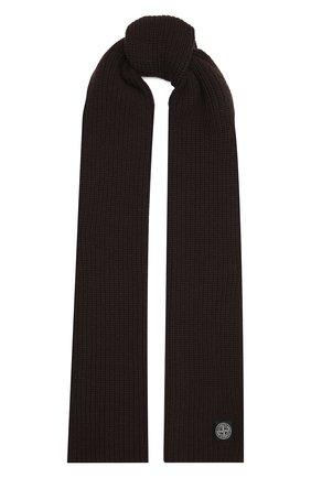 Мужской шерстяной шарф STONE ISLAND темно-коричневого цвета, арт. 7515N15B5 | Фото 1 (Материал: Шерсть; Кросс-КТ: шерсть)