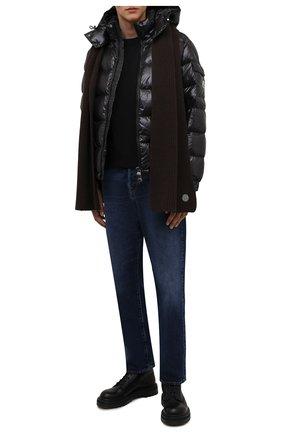 Мужской шерстяной шарф STONE ISLAND темно-коричневого цвета, арт. 7515N15B5 | Фото 2 (Материал: Шерсть; Кросс-КТ: шерсть)