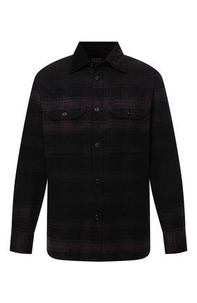 Мужская хлопковая рубашка DIESEL темно-фиолетового цвета, арт. A03177/0SDAB | Фото 1 (Длина (для топов): Стандартные; Материал внешний: Хлопок; Рукава: Длинные; Стили: Гранж; Принт: Клетка; Воротник: Кент; Манжеты: На пуговицах)