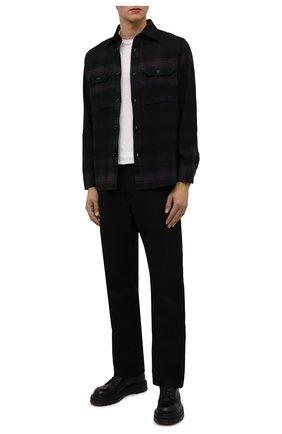 Мужская хлопковая рубашка DIESEL темно-фиолетового цвета, арт. A03177/0SDAB | Фото 2 (Длина (для топов): Стандартные; Материал внешний: Хлопок; Рукава: Длинные; Стили: Гранж; Принт: Клетка; Воротник: Кент; Манжеты: На пуговицах)