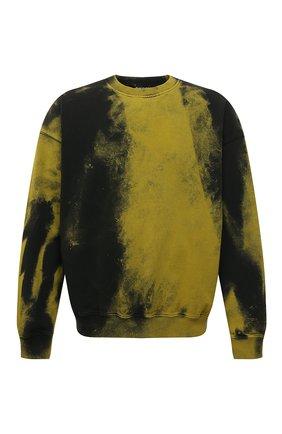 Мужской хлопковый свитшот DIESEL желтого цвета, арт. A03277/0TCAN | Фото 1 (Рукава: Длинные; Длина (для топов): Стандартные; Материал внешний: Хлопок; Мужское Кросс-КТ: свитшот-одежда; Принт: С принтом; Стили: Гранж)