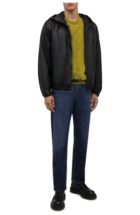 Мужской хлопковый свитшот DIESEL желтого цвета, арт. A03277/0TCAN | Фото 2 (Рукава: Длинные; Длина (для топов): Стандартные; Материал внешний: Хлопок; Мужское Кросс-КТ: свитшот-одежда; Принт: С принтом; Стили: Гранж)