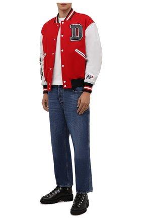 Мужской комбинированный бомбер DIESEL красного цвета, арт. A03158/0TCAC | Фото 2 (Рукава: Длинные; Материал внешний: Шерсть; Материал подклада: Синтетический материал; Длина (верхняя одежда): Короткие; Кросс-КТ: Куртка; Стили: Гранж; Принт: С принтом; Мужское Кросс-КТ: шерсть и кашемир)