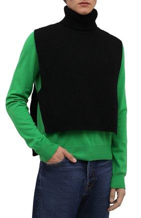 Мужские шерстяная манишка DRIES VAN NOTEN черного цвета, арт. 212-022208-3703   Фото 2 (Материал: Шерсть)