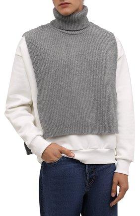 Мужские шерстяная манишка DRIES VAN NOTEN серого цвета, арт. 212-022208-3703   Фото 2 (Материал: Шерсть)