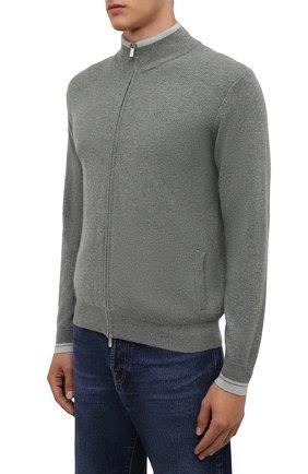 Мужской кашемировый кардиган FEDELI серого цвета, арт. 4UI08065 | Фото 3 (Мужское Кросс-КТ: Кардиган-одежда; Материал внешний: Шерсть, Кашемир; Рукава: Длинные; Длина (для топов): Стандартные; Стили: Кэжуэл)