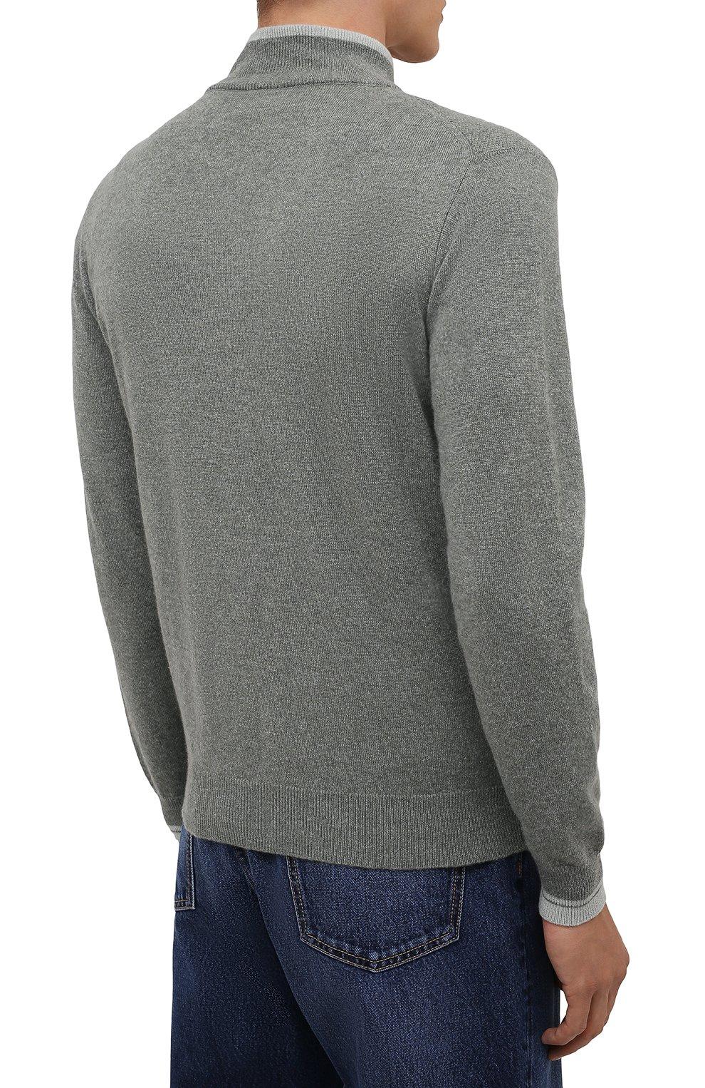 Мужской кашемировый кардиган FEDELI серого цвета, арт. 4UI08065 | Фото 4 (Мужское Кросс-КТ: Кардиган-одежда; Материал внешний: Шерсть, Кашемир; Рукава: Длинные; Длина (для топов): Стандартные; Стили: Кэжуэл)