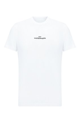Мужская хлопковая футболка MAISON MARGIELA белого цвета, арт. S30GC0701/S22816   Фото 1 (Материал внешний: Хлопок; Принт: С принтом; Стили: Минимализм; Длина (для топов): Стандартные; Рукава: Короткие)