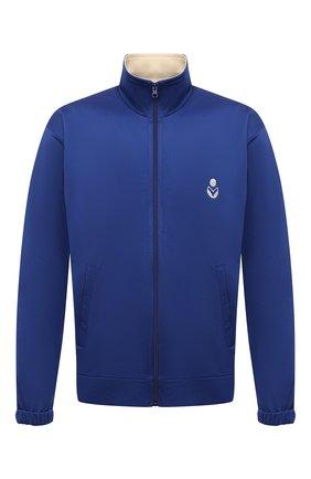 Мужской толстовка ISABEL MARANT синего цвета, арт. VE1671-21A015H/ISS0PE   Фото 1 (Длина (для топов): Стандартные; Рукава: Длинные; Материал внешний: Синтетический материал, Хлопок; Мужское Кросс-КТ: Толстовка-одежда; Стили: Спорт-шик)