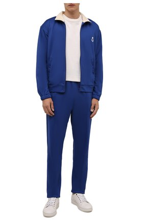Мужской толстовка ISABEL MARANT синего цвета, арт. VE1671-21A015H/ISS0PE   Фото 2 (Длина (для топов): Стандартные; Рукава: Длинные; Материал внешний: Синтетический материал, Хлопок; Мужское Кросс-КТ: Толстовка-одежда; Стили: Спорт-шик)
