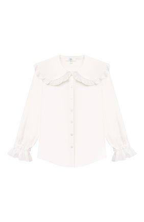 Детское хлопковая блузка ZHANNA & ANNA белого цвета, арт. ZALW10062021   Фото 1 (Материал внешний: Хлопок, Синтетический материал; Рукава: Длинные)