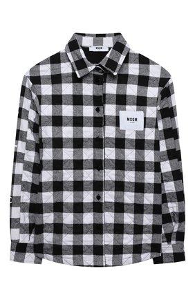 Детское хлопковая рубашка MSGM KIDS черно-белого цвета, арт. MS027858   Фото 1 (Материал подклада: Хлопок; Материал внешний: Хлопок, Синтетический материал; Рукава: Длинные)