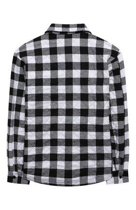 Детское хлопковая рубашка MSGM KIDS черно-белого цвета, арт. MS027858   Фото 2 (Материал подклада: Хлопок; Материал внешний: Хлопок, Синтетический материал; Рукава: Длинные)