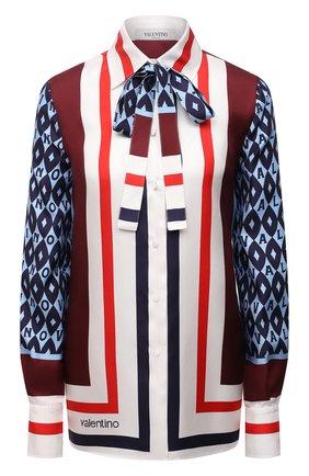 Женская шелковая блузка VALENTINO синего цвета, арт. WB3AB2N26JG   Фото 1 (Длина (для топов): Стандартные; Материал внешний: Шелк; Рукава: Длинные; Стили: Романтичный; Принт: С принтом; Женское Кросс-КТ: Блуза-одежда)