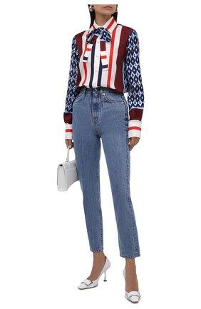 Женская шелковая блузка VALENTINO синего цвета, арт. WB3AB2N26JG   Фото 2 (Длина (для топов): Стандартные; Материал внешний: Шелк; Рукава: Длинные; Стили: Романтичный; Принт: С принтом; Женское Кросс-КТ: Блуза-одежда)