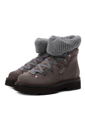 Женские замшевые ботинки BRUNELLO CUCINELLI темно-серого цвета, арт. MZSFG2101 | Фото 1 (Материал внутренний: Натуральная кожа; Женское Кросс-КТ: Хайкеры-ботинки; Подошва: Платформа; Материал внешний: Замша)