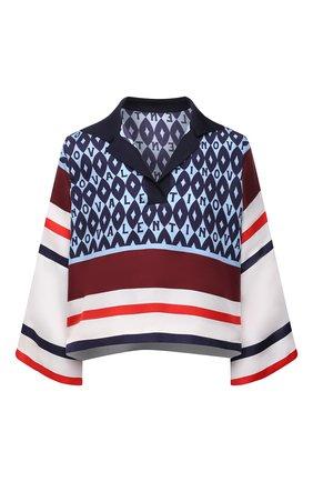 Женская шелковая блузка VALENTINO синего цвета, арт. WB3AE6486JG   Фото 1 (Материал внешний: Шелк; Длина (для топов): Укороченные; Рукава: 3/4; Стили: Романтичный; Принт: С принтом; Женское Кросс-КТ: Блуза-одежда)