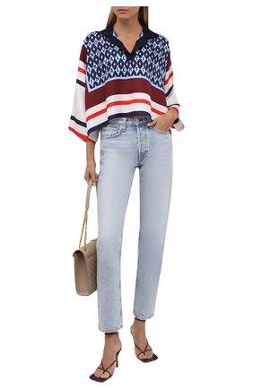Женская шелковая блузка VALENTINO синего цвета, арт. WB3AE6486JG   Фото 2 (Материал внешний: Шелк; Длина (для топов): Укороченные; Рукава: 3/4; Стили: Романтичный; Принт: С принтом; Женское Кросс-КТ: Блуза-одежда)