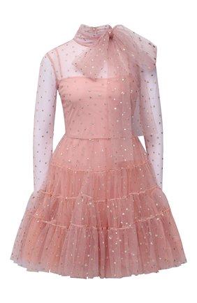 Женское платье REDVALENTINO светло-розового цвета, арт. WR3VABM0/5YP   Фото 1 (Материал внешний: Синтетический материал; Материал подклада: Синтетический материал; Стили: Романтичный; Случай: Вечерний; Рукава: Длинные; Длина Ж (юбки, платья, шорты): Мини)