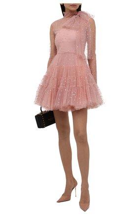 Женское платье REDVALENTINO светло-розового цвета, арт. WR3VABM0/5YP   Фото 2 (Материал внешний: Синтетический материал; Материал подклада: Синтетический материал; Стили: Романтичный; Случай: Вечерний; Рукава: Длинные; Длина Ж (юбки, платья, шорты): Мини)
