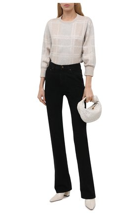 Женский пуловер из шерсти и кашемира BRUNELLO CUCINELLI бежевого цвета, арт. M16126900   Фото 2 (Материал внешний: Шерсть, Кашемир; Длина (для топов): Стандартные; Рукава: 3/4; Стили: Кэжуэл; Женское Кросс-КТ: Пуловер-одежда)
