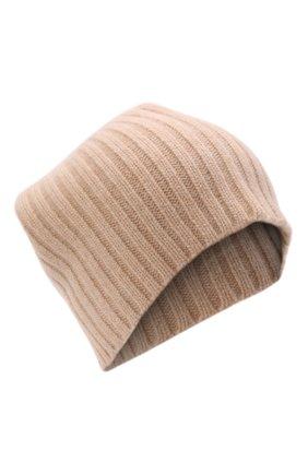 Женская кашемировая шапка ALLUDE светло-бежевого цвета, арт. 215/60630 | Фото 1 (Материал: Кашемир, Шерсть)