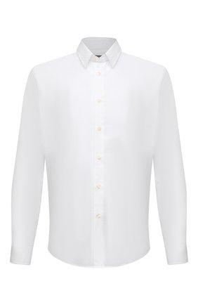 Мужская хлопковая рубашка VILEBREQUIN белого цвета, арт. CCAP501P/010 | Фото 1 (Длина (для топов): Стандартные; Материал внешний: Хлопок; Рукава: Длинные; Случай: Повседневный; Принт: Однотонные; Манжеты: На пуговицах; Воротник: Кент; Стили: Кэжуэл)