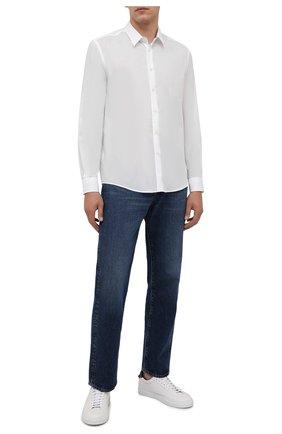 Мужская хлопковая рубашка VILEBREQUIN белого цвета, арт. CCAP501P/010 | Фото 2 (Длина (для топов): Стандартные; Материал внешний: Хлопок; Рукава: Длинные; Случай: Повседневный; Принт: Однотонные; Манжеты: На пуговицах; Воротник: Кент; Стили: Кэжуэл)