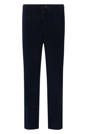 Мужские хлопковые брюки MARCO PESCAROLO синего цвета, арт. CHIAIAM/ZIP+SFILA/4402 | Фото 1 (Материал внешний: Хлопок; Случай: Повседневный; Стили: Кэжуэл; Big sizes: Big Sizes; Длина (брюки, джинсы): Стандартные)