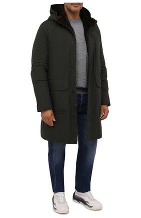 Мужская парка с меховой подкладкой ANDREA CAMPAGNA темно-зеленого цвета, арт. 00500H001A131 | Фото 2 (Материал внешний: Синтетический материал; Рукава: Длинные; Длина (верхняя одежда): До колена; Кросс-КТ: Куртка; Мужское Кросс-КТ: пуховик-длинный; Стили: Кэжуэл)