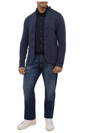 Мужская хлопковая рубашка VAN LAACK синего цвета, арт. M-PER-LSF/187049/3XL | Фото 2 (Рукава: Длинные; Длина (для топов): Стандартные; Материал внешний: Хлопок; Случай: Повседневный; Принт: Однотонные; Манжеты: На пуговицах; Рубашки М: Regular Fit; Воротник: Акула; Стили: Кэжуэл)