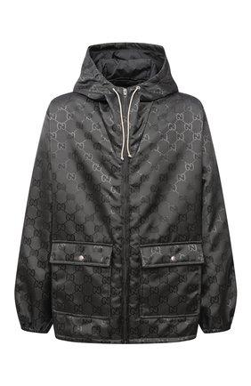 Мужская куртка GUCCI темно-серого цвета, арт. 657792/ZAEBN | Фото 1 (Материал подклада: Синтетический материал; Рукава: Длинные; Материал внешний: Синтетический материал; Длина (верхняя одежда): Короткие; Кросс-КТ: Куртка, Ветровка; Стили: Кэжуэл)