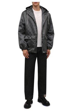 Мужская куртка GUCCI темно-серого цвета, арт. 657792/ZAEBN | Фото 2 (Материал подклада: Синтетический материал; Рукава: Длинные; Материал внешний: Синтетический материал; Длина (верхняя одежда): Короткие; Кросс-КТ: Куртка, Ветровка; Стили: Кэжуэл)