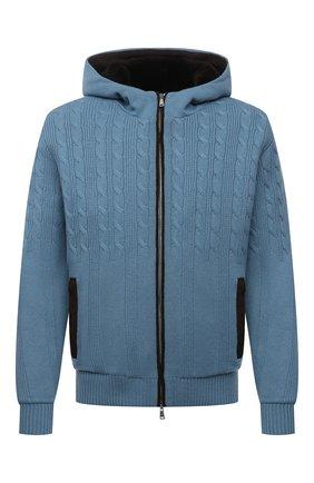 Мужской кашемировый бомбер с меховой подкладкой FIORONI голубого цвета, арт. MTP21003E1 | Фото 1 (Материал внешний: Кашемир, Шерсть; Материал утеплителя: Натуральный мех; Кросс-КТ: Куртка; Мужское Кросс-КТ: утепленные куртки, шерсть и кашемир; Стили: Кэжуэл; Принт: Без принта; Рукава: Длинные; Длина (верхняя одежда): Короткие)
