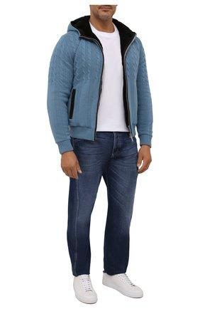 Мужской кашемировый бомбер с меховой подкладкой FIORONI голубого цвета, арт. MTP21003E1 | Фото 2 (Материал внешний: Кашемир, Шерсть; Материал утеплителя: Натуральный мех; Кросс-КТ: Куртка; Мужское Кросс-КТ: утепленные куртки, шерсть и кашемир; Стили: Кэжуэл; Принт: Без принта; Рукава: Длинные; Длина (верхняя одежда): Короткие)