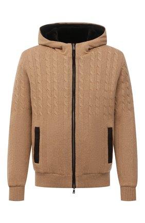 Мужской кашемировый бомбер с меховой подкладкой FIORONI светло-бежевого цвета, арт. MTP21003E1 | Фото 1 (Материал внешний: Шерсть, Кашемир; Материал утеплителя: Натуральный мех; Кросс-КТ: Куртка; Мужское Кросс-КТ: утепленные куртки, шерсть и кашемир; Стили: Кэжуэл; Принт: Без принта; Длина (верхняя одежда): Короткие; Рукава: Длинные)