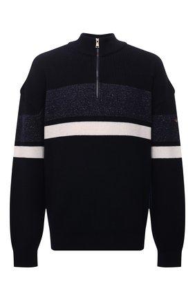 Мужской шерстяной свитер PAUL&SHARK темно-синего цвета, арт. 11311167/I9F/3XL-6XL   Фото 1 (Материал внешний: Шерсть; Длина (для топов): Удлиненные; Рукава: Длинные; Мужское Кросс-КТ: Свитер-одежда; Стили: Кэжуэл; Принт: С принтом)
