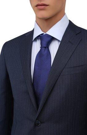 Мужской шелковый галстук BRIONI синего цвета, арт. 062H00/01442 | Фото 2 (Материал: Текстиль, Шелк; Принт: С принтом)