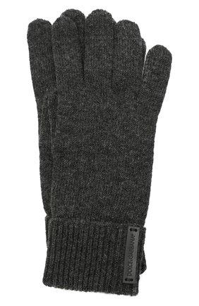 Мужские шерстяные перчатки DOLCE & GABBANA темно-серого цвета, арт. GXG60T/JBVC4 | Фото 1 (Материал: Шерсть; Кросс-КТ: Трикотаж)