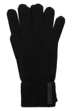Мужские шерстяные перчатки DOLCE & GABBANA черного цвета, арт. GXG60T/JBVC4 | Фото 1 (Материал: Шерсть; Кросс-КТ: Трикотаж)