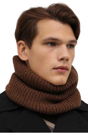 Мужской шерстяной шарф-снуд INVERNI коричневого цвета, арт. 5308 SM   Фото 2 (Материал: Шерсть; Кросс-КТ: шерсть)