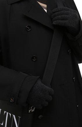 Мужские кашемировые перчатки INVERNI темно-серого цвета, арт. 5047 GU   Фото 2 (Материал: Шерсть, Кашемир; Кросс-КТ: Трикотаж)